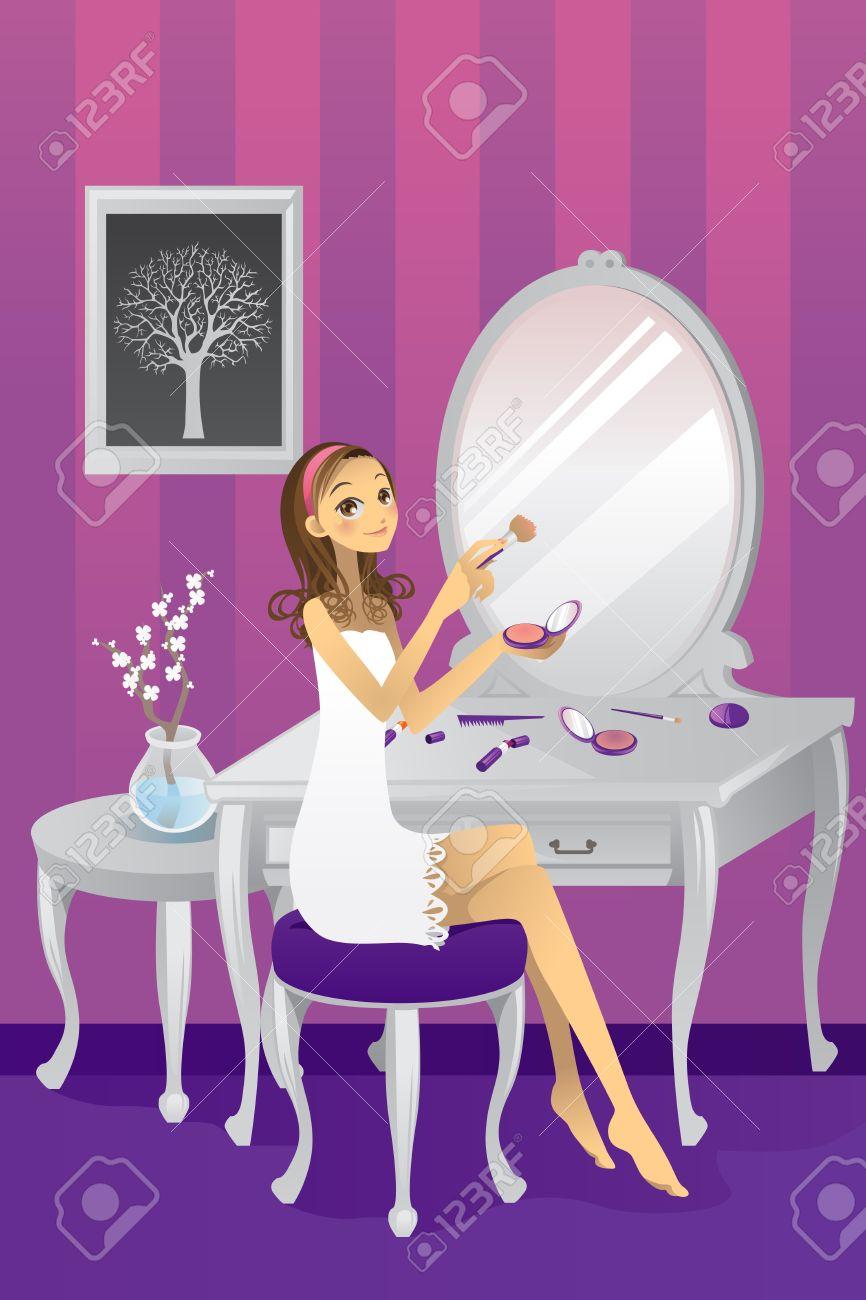 10987452-illustration-d-une-belle-jeune-fille-se-maquiller-dans-sa-chambre-banque-dimages